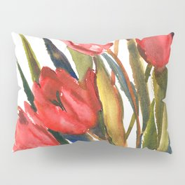 Red Tulips, garden flowers red , olive green Pillow Sham