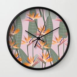 Bird of Paradise - pink Wall Clock