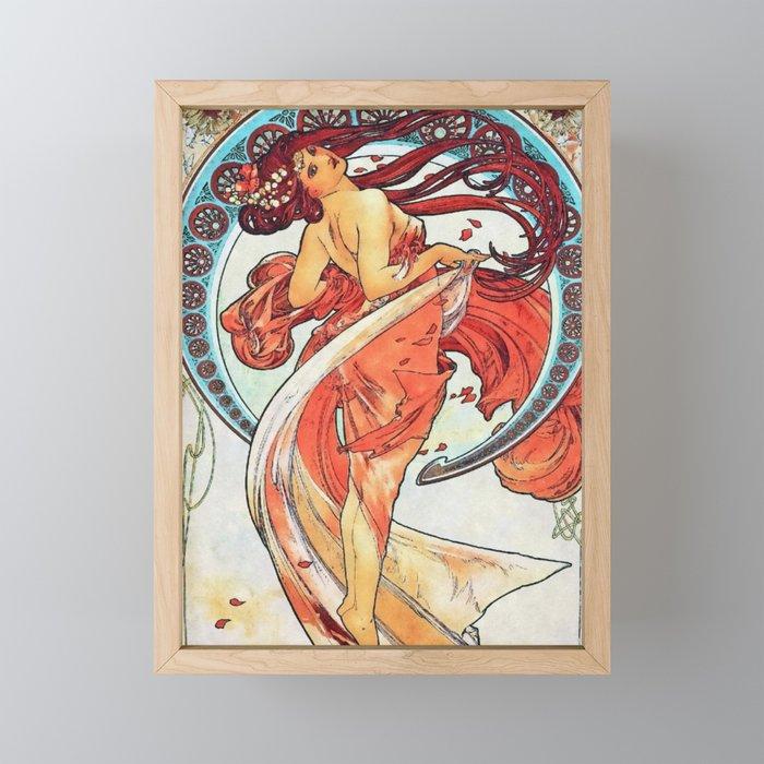 Alphonse Mucha Dance Art Nouveau Watercolor Painting Framed Mini Art Print