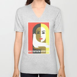 Vintage Russian Poster, USSR Soviet Union International Women's Day by Juozas Galkus 1968 Unisex V-Neck