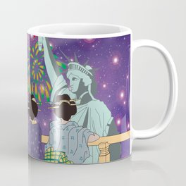 Hokusai People Seeing Statue of Liberty & Fireworks in Universe Coffee Mug
