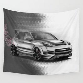 Porsch Cayenne Sakura Artrace body-kit. Wall Tapestry