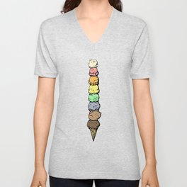Giant Rainbow Ice Cream Cones Unisex V-Neck