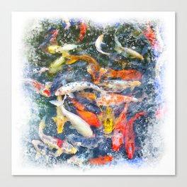 Koi Carp Splash Canvas Print