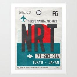 Vintage Tokyo Narita Luggage Tag Poster Art Print