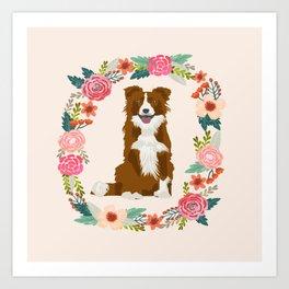 border collie brown floral wreath dog gifts pet portraits Art Print