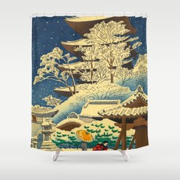Japanese Woodblock Print Vintage Asian Art Colorful woodblock prints Shrine At Night Snow White Shower Curtain