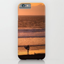 Surfer watching sunset in Southern California iPhone Case
