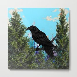 CROW &  Mountain Landscape Pines In Blue-Greens Metal Print