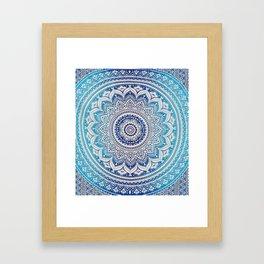 Teal And Aqua Lace Mandala Framed Art Print
