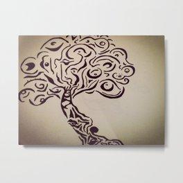 Ink Doodle Eyeball Tree Metal Print