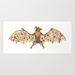 Floral Fruit Bat Art Print