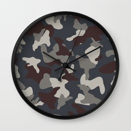 Grey Blue army camo camouflage pattern Wall Clock