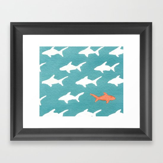Splashy Sharks Framed Art Print