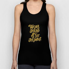 Work Hard Stay Humble hand lettered modern hand lettering typography quote wall art home decor Unisex Tank Top
