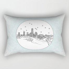 Austin, Texas City Skyline Illustration Drawing Rectangular Pillow