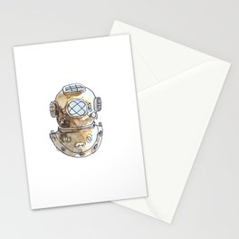 Diving Helmet Watercolor Stationery Cards