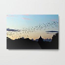 Murmuration Starlings Flock Birds Sunset Rome Italy Metal Print