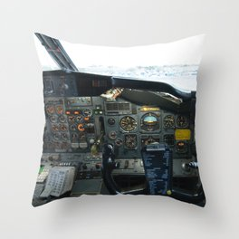 737 Airliner Cockpit Throw Pillow