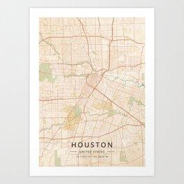 Houston, United States - Vintage Map Art Print