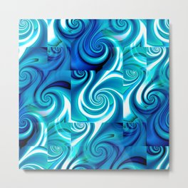 Awesome Lushness Pattern (blue and white) Metal Print