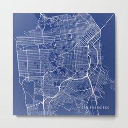 San Francisco Map, USA - Blue Metal Print