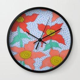 Flowers in the Rain Wall Clock
