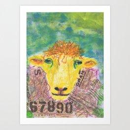Worldy Sheep Art Print