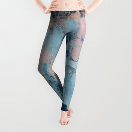 Sunbeam: a pretty abstract painting in pink, blue, and gold by Alyssa Hamilton Art Leggings