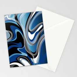 Liquify in Denim, Navy Blue, Black, White // Version 2 Stationery Cards