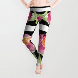 Stripe Black & White Horizontal and Watercolor Roses Leggings