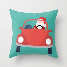 Santa Claus coming to you on his Car Sleigh Throw Pillow
