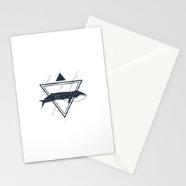 Cosmic Whale. Geometric Style Stationery Cards