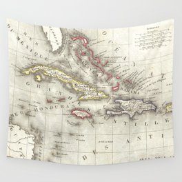 Vintage Map of The Caribbean (1852) Wall Tapestry