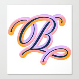 Vintage Feel. Colourful and Playful Letters B Canvas Print