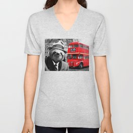 Sloth in London Unisex V-Neck