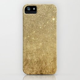 Girly Glamorous Gold Foil and Glitter Mesh iPhone Case