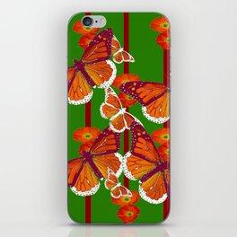 GREEN  DECORATED MONARCHS & POPPY FLOWERS ART iPhone Skin