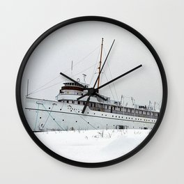 SS Keewatin in Winter White Wall Clock