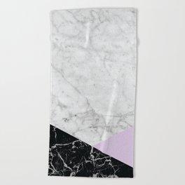 Geometric White Marble - Black Granite & Light Purple #388 Beach Towel