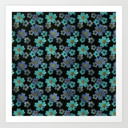 Blue and turquoise flowers on a black background . Art Print