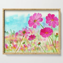 Symphony In Pink, Watercolor Wildflowers Serving Tray