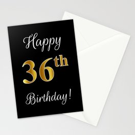 """Elegant """"Happy 36th Birthday!"""" With Faux/Imitation Gold-Inspired Color Pattern Number (on Black) Stationery Cards"""