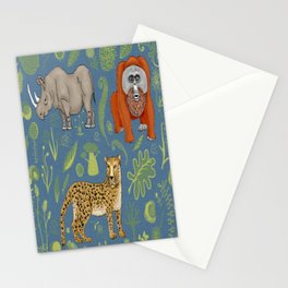 endangered animals, black rhino, amur leopard, bornean orangutan Stationery Cards