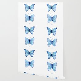 Two Blue Butterflies Watercolor Wallpaper