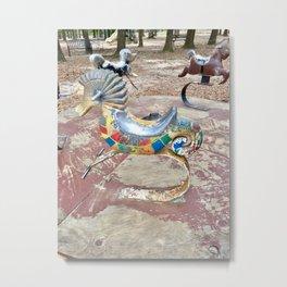 Rusty seahorse playground Merry go round Metal Print