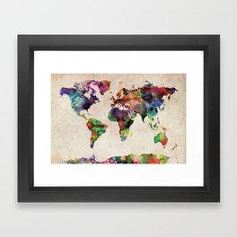 World Map Urban Watercolor Framed Art Print