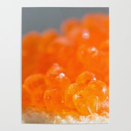 Sandwich with red caviar on a gray background Poster