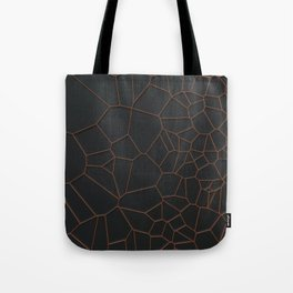 Orange voronoi grate on black background Tote Bag