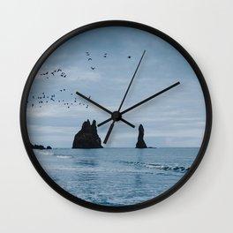 Iceland's Black Sand Beach Wall Clock